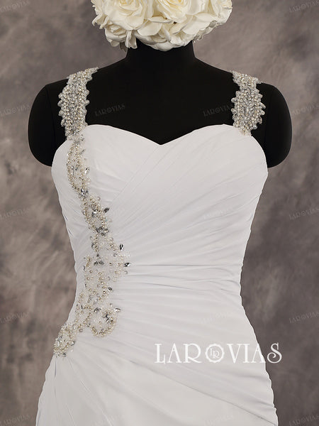 Sheath Chiffon Sweetheart Chapel Train Zipper Up Back Wedding Dress With Gorgeous Beaded Straps Style WD237 - LaRovias