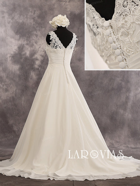 A-Line Sleeveless Sweetheart Neckline Chapel Train Lace Bodice Ruched Waist And Chiffon Skirt Wedding Dress Style WD239 - LaRovias
