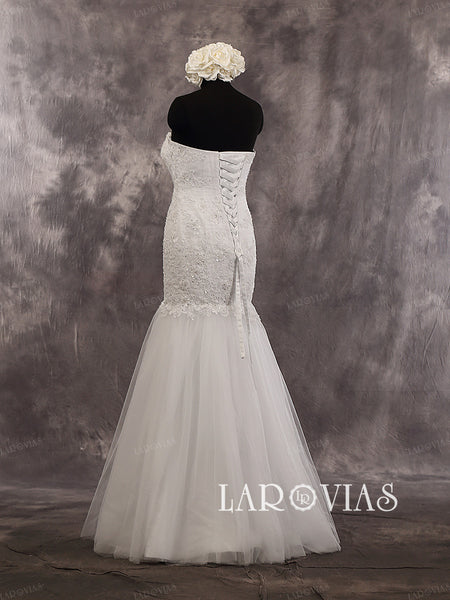 Lace Mermaid Floor Length Sweetheart Strapless Criss-Cross Bodice Wedding Dress Style WD241 - LaRovias