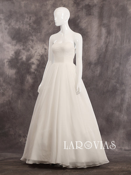 Sweetheart Strapless Oganza A Line Floor Length Ruched Waist Wedding Dress Lace Up Back Style WD244 - LaRovias