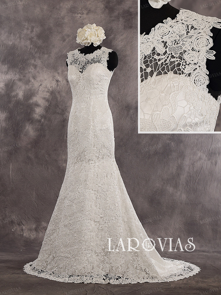 Mermaid Sweetheart Sleeveless Lace Overlay Illusion Back Court Train Wedding Dress Zipper Up Back Style WD245 - LaRovias