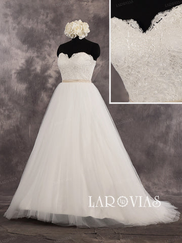 Strapless Sweetheart A Line Lace Floor Length Wedding Dress Bridal Gown With Satin Sash Zipper Up Back Style WD246 - LaRovias