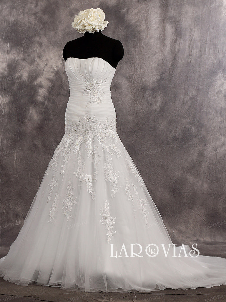 Strapless Sweetheart Trumpet Chapel Train Draped Bodice Wedding Dress Zipper Up Back Style WD255 - LaRovias