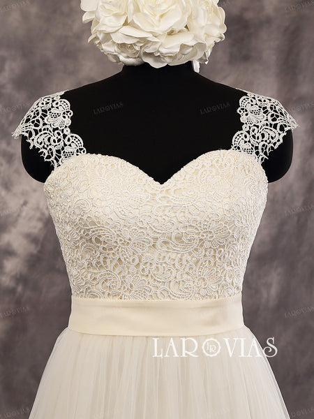 Fabulous Sheath Lace Sweetheart Cap Sleeves Floor Length Wedding Dress Deep V-Back Bridal Dress Style WD258 - LaRovias