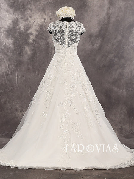 New Unique Lace A-line Sweetheart Neckline Cap Sleeves Illusion Back Sequined Wedding Dresses Chapel Train Style WD261 - LaRovias
