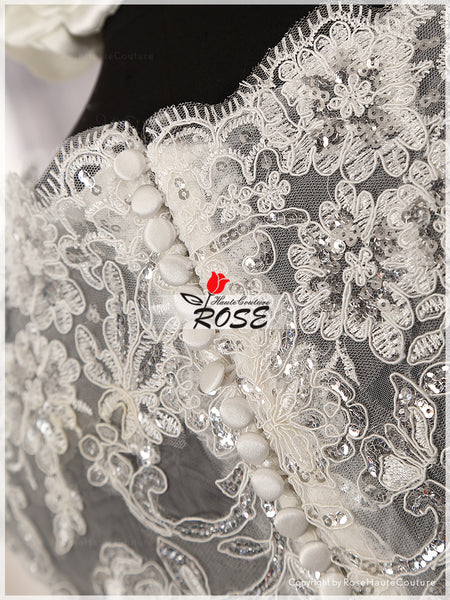 Shining A Line Sweetheart Neckline Cap Sleeves Illusion Back Wedding Dress Chapel Train Zipper Up Back Style WD014 - LaRovias