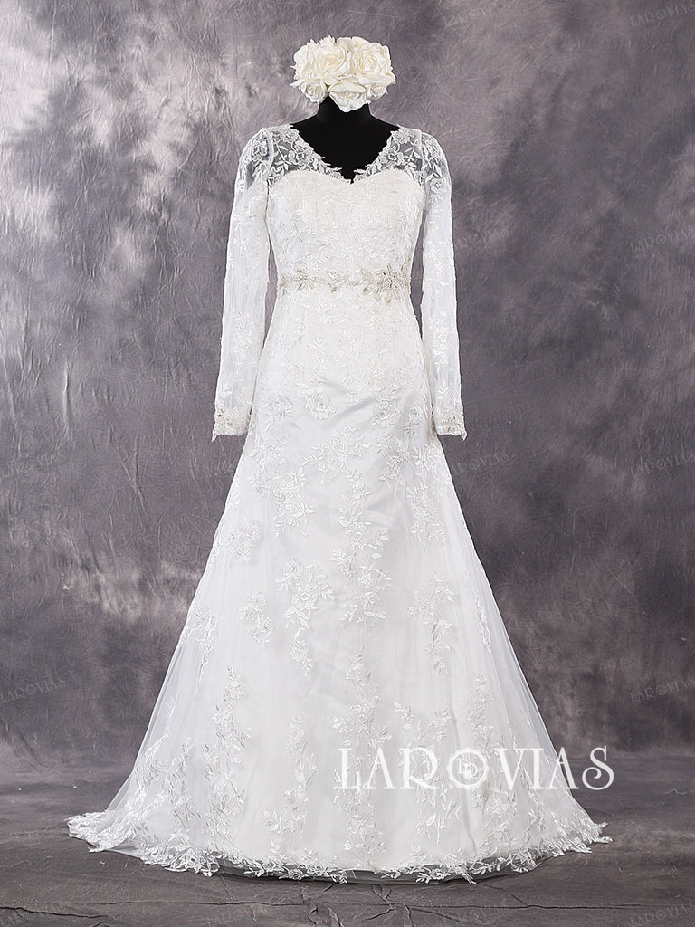 Lace Wedding Dress with Sleeves WD268 - LaRovias