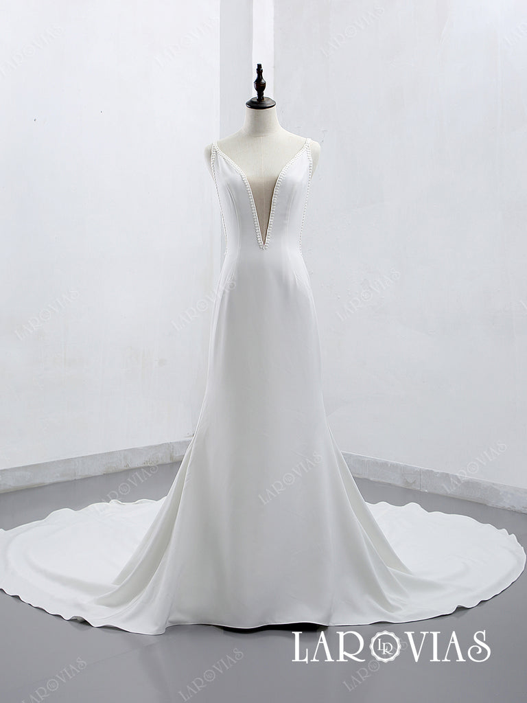 2019 A Line Satin Deep V-Neckline Wedding Dress Chapel Train LR009 - LaRovias