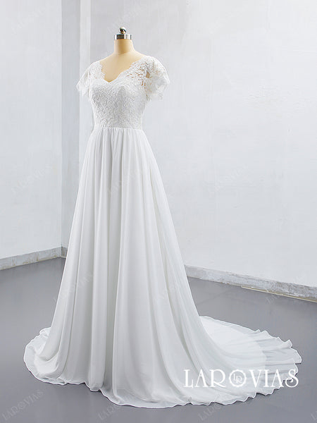 2019 Lace and Chiffon Wedding Dress Bridal Gown Cap Sleeves LR013 - LaRovias