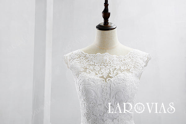2019 Lace and Satin Wedding Dress Bridal Gown Chapel Train LR014 - LaRovias