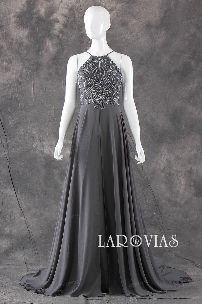Beaded Prom Dresses Evening Dresses with Spaghetti Straps bb0003 - LaRovias