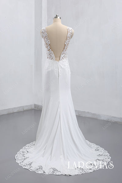2019 Lace and Satin Wedding Dress Sweetheart Neckline Lace Straps Zipper Back LR011 - LaRovias