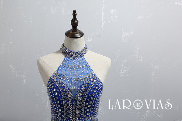 Royal Blue Beaded Homecoming Dresses Party Dresses HC002 - LaRovias