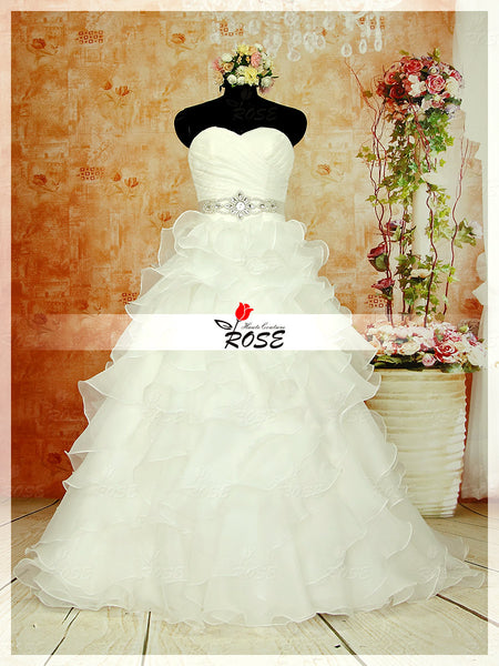 A Line Strapless Sweetheart Organza Wedding Dresses with Detachable Crystal Sash Style WD083 - LaRovias