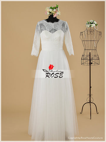 Sweetheart Lace Wedding Dresses Tulle Skirt 3/4 Lace Sleeves with Ruched Chiffon Detail Style WD099 - LaRovias
