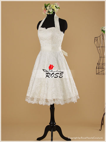 Knee Length Halter Neckline A Line Lace Wedding Dresses Style WD022 - LaRovias