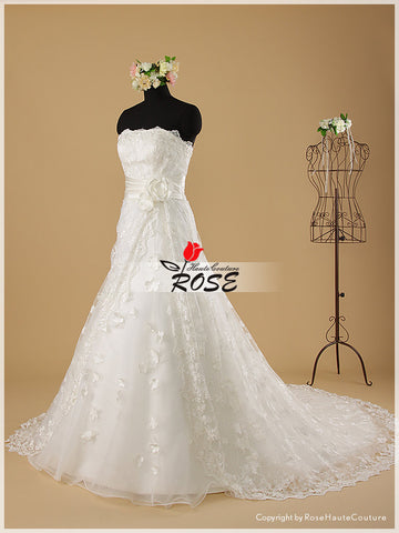 French Lace A Line Wedding Dress with Handmade Flowers Petals Detail Chapel Train and Corset Back Style WD041 - LaRovias