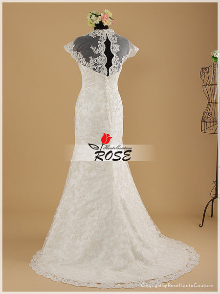 Mermaid Lace Wedding Dress V Neck Cap Sleeve Sheer Back Sweep Train Style WD024 - LaRovias