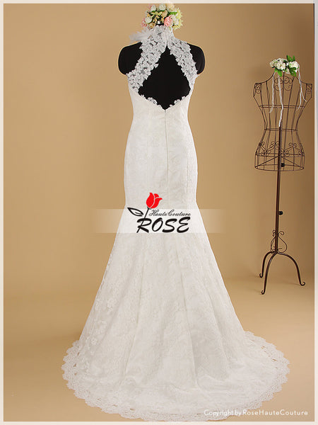 Ivory Lace Over Satin Modified Mermaid Bridal Gown with High Neckline Style WD047 - LaRovias