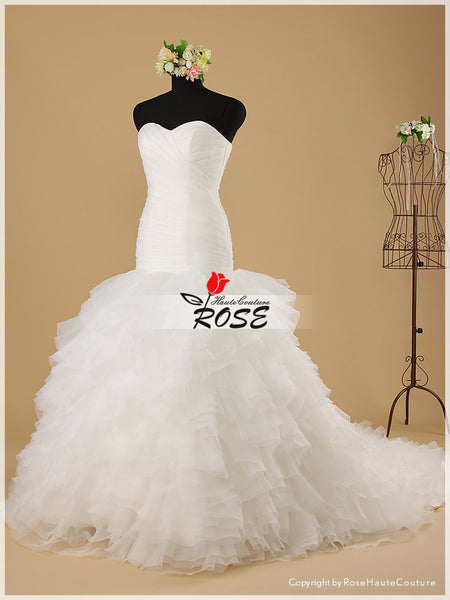 Mermaid Strapless Sweetheart Wedding Dresses with Tiered Organza Skirt Style WD037 - LaRovias