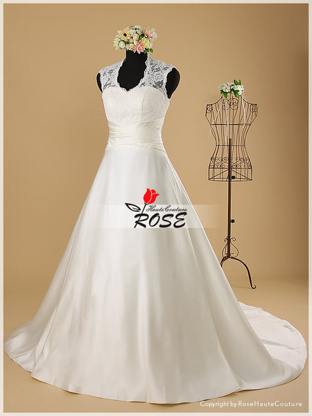 A Line High Neck Wedding Dress with Sweetheart Neckline and Transparent Lace Back Style WD084 - LaRovias