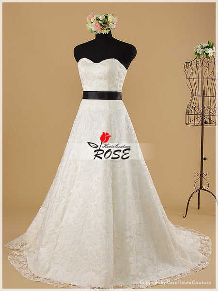 A Line Strapless Sweetheart Lace Wedding Dresses with Waist Sash Style WD033 - LaRovias