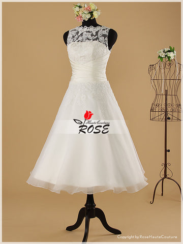 Tea Length Lace Reception Wedding Dresses and Organza Skirt with V-back Neckline Style WD018 - LaRovias