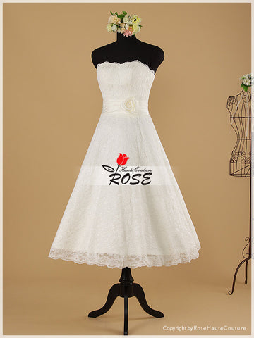 Knee Length A Line Lace Wedding Dress with Ruched Satin and Hand-made Flowers Details Style WD011 - LaRovias