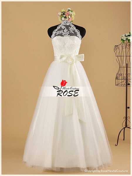 A Line High Neck Sweetheart Wedding Dresses with Luxury Beaded Waist Sash Style WD028 - LaRovias