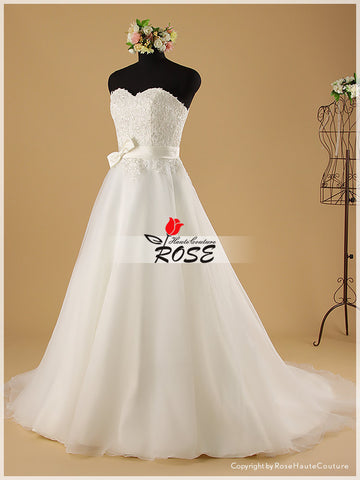 A Line Sweetheart Wedding Dresses with Tulle Skirt and Satin Belt Style WD035 - LaRovias
