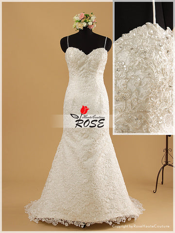 Mermaid Lace Wedding Dress Sweetheart Neckline with Spaghetti Straps Style WD094 - LaRovias