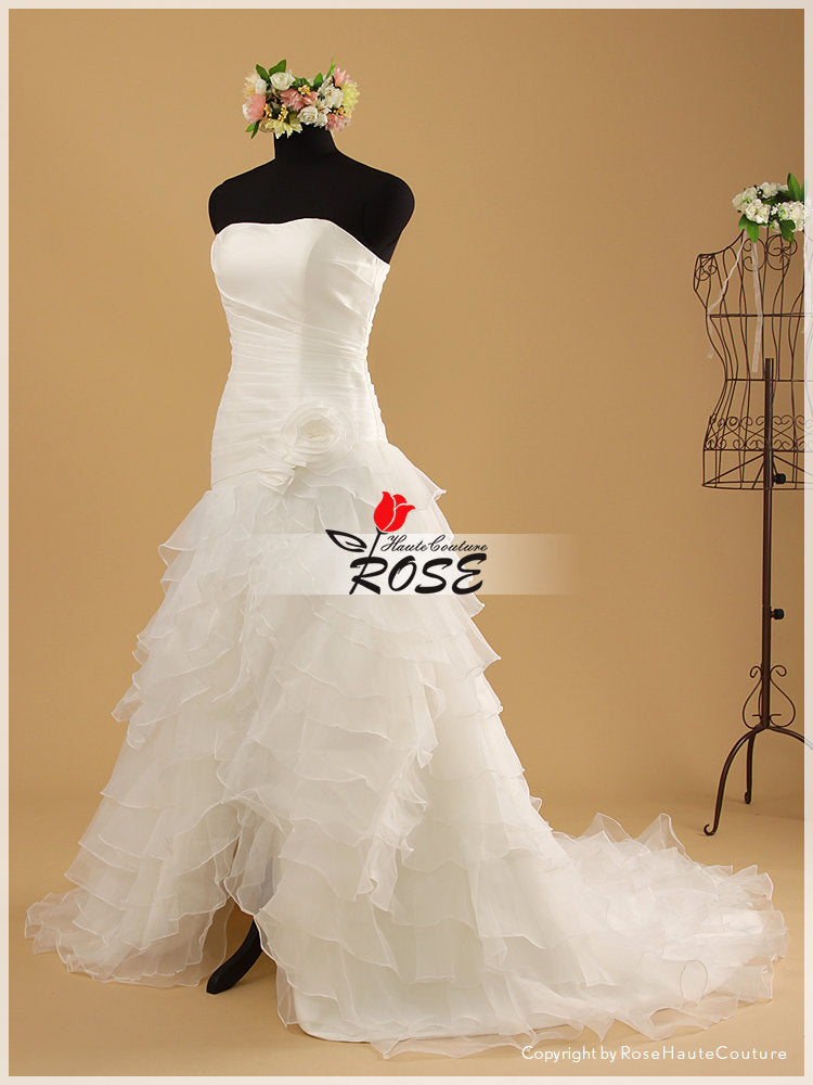 Strapless Multi-tiered Organza Slim A-line Wedding Gown with Handmade Flowers Detail Chapel Train Style WD043 - LaRovias
