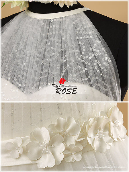 Unique Tulle-made Wedding Dresses with Handmade Flowers Details and Swarovski Crystals Style WD031 - LaRovias