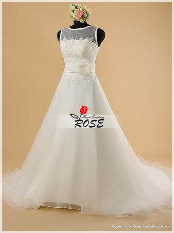 A Line Organza Wedding Dress Ruched Satin Detail Handmade Flower with Swarovski Crystals Petal Style WD040 - LaRovias