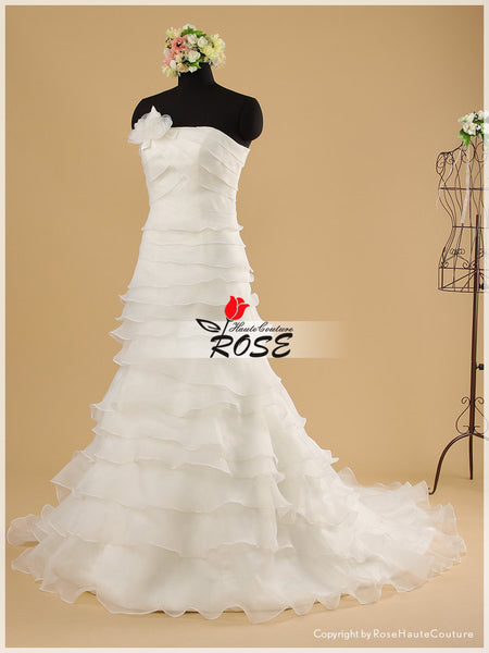 Strapless Multi-Tiered Layered Organza Slim A-line Bridal Gown Wedding Dress Style WD042 - LaRovias