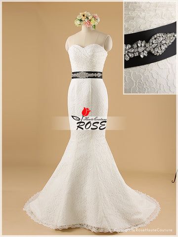 Strapless Sweetheart Embroidered Lace Mermaid Wedding Dress Removable Crystal Belt Style WD054 - LaRovias