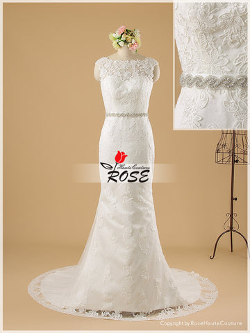 Mermaid Lace Wedding Dress V Back with Detachable Beaded Belt Style WD061 - LaRovias