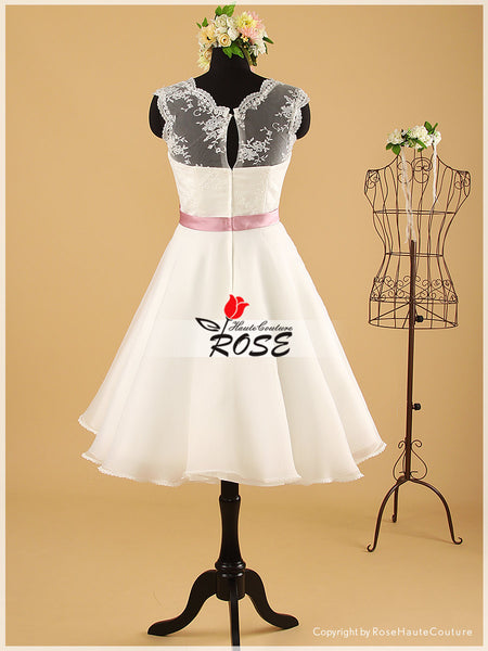 Knee Length Lace and Organza Wedding Dresses Satin Sash with Flower Detail Style WD049 - LaRovias