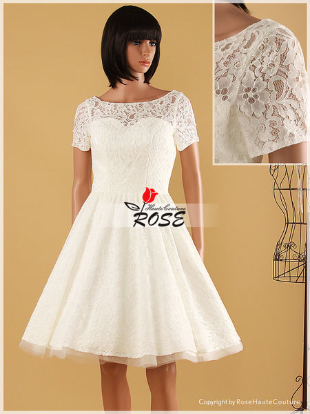 Vintage Style Lace Knee Length Wedding Dress Zipper Back Style WD065 - LaRovias