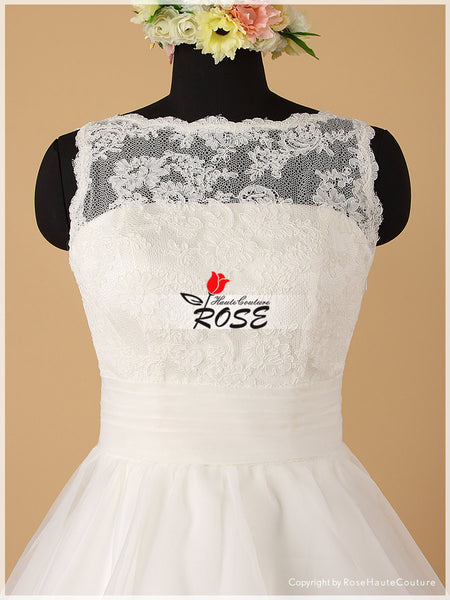 Knee Length Lace Wedding Dress with Organza Skirt and Back Bowknot Style WD066 - LaRovias