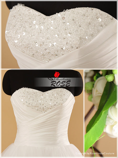 Strapless Sleeveless Tulle Ball Gown Wedding Dress Sweetheart Neckline with Crystal Beading Details Style WD074 - LaRovias