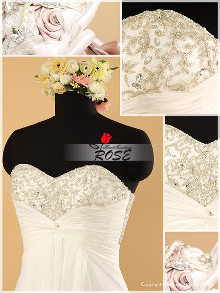 Sweetheart Sheath Chiffon Wedding Dress with Beaded Embroidery Bodice Style WD072 - LaRovias