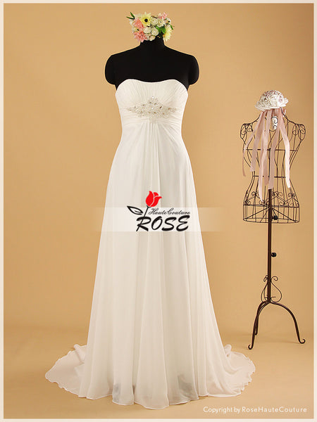 Sweetheart Sheath Chiffon Wedding Dress with Beads Details Style WD079 - LaRovias