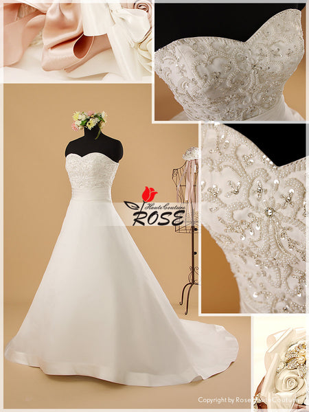 Strapless Satin and Royal Organza Wedding Dress with Beaded Embroidery Bodice Style WD073 - LaRovias