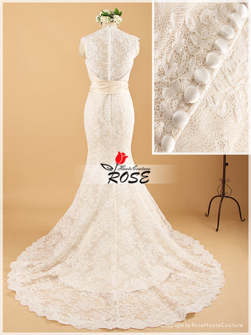 Mermaid V Neckline Lace Wedding Dress Lace Covered Back With Detachable Satin Sash Style WD060 - LaRovias