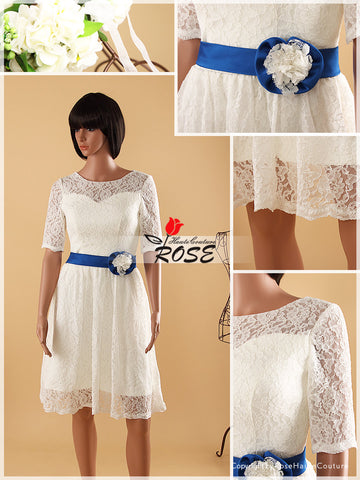 Knee Length Lace Wedding Dresses Satin Waist Belt with Flowers Style WD064 - LaRovias
