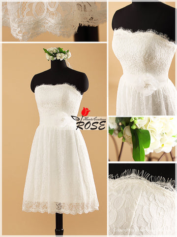 Knee Length Lace Wedding Dresses with Ruched Organza Waist Belt Style WD062 - LaRovias