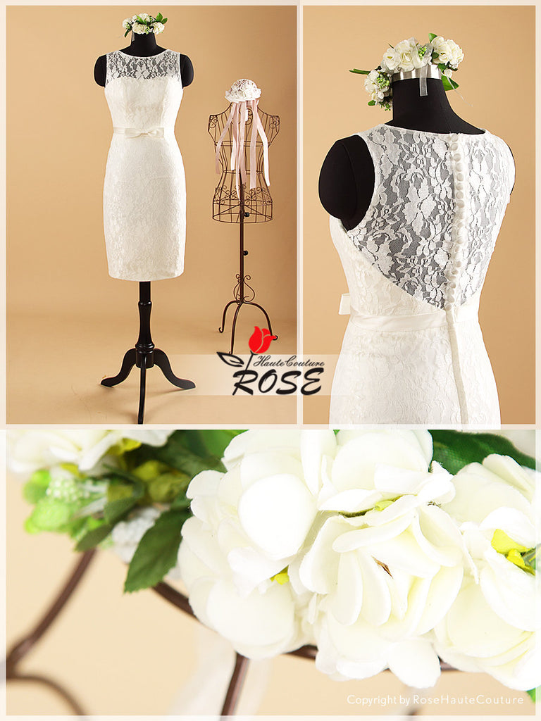Knee Length Lace Wedding Dresses with Satin Waist Belt Style WD052 - LaRovias