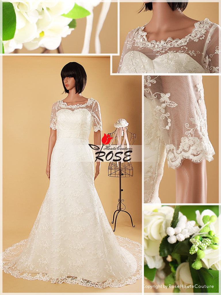 Satin and Lace Mermaid Wedding Dress Sweetheart Neckline Button Back Style WD055 - LaRovias