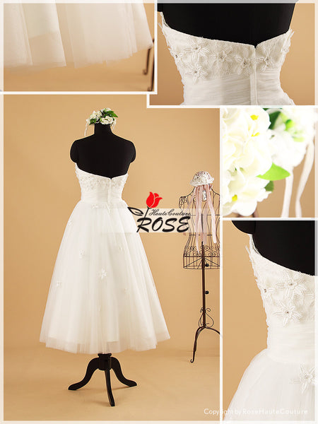 Tea Length Strapless Lace Wedding Dresses Tulle Skirt Style WD057 - LaRovias